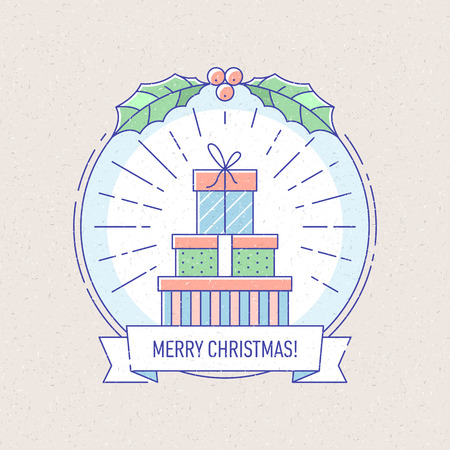 vector vintage new year and christmas badge or labels with gift boxes for greetings cards gift tags christmas sale or web design thin lines