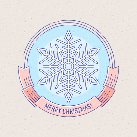 vector vintage new year and christmas badge or labels with snowflake for greetings cards gift tags christmas sale or web design thin lines