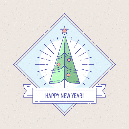 Vintage badge or labels with Christmas tree for greetings cards, gift tags, Christmas sale or web design. Thin lines. Template for card or invitation. Vector.