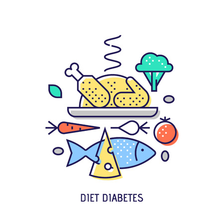 Diet diabets icon. Diabetes vector thin line icon. Premium quality outline sign. Stock vector illustration in flat design. Illustration
