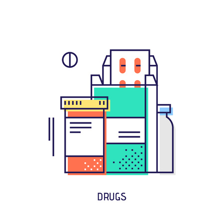 medical illustration: Drugs and pills icon. Diabetes vector thin line icon. Premium quality outline sign. Stock vector illustration in flat design. See also other medical icons.