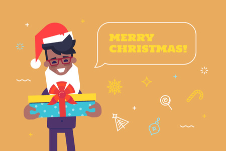 Happy black businessman in santa hat with beard giving gift box with Merry Christmas and New Year icons on background. Vector illustration. 矢量图像