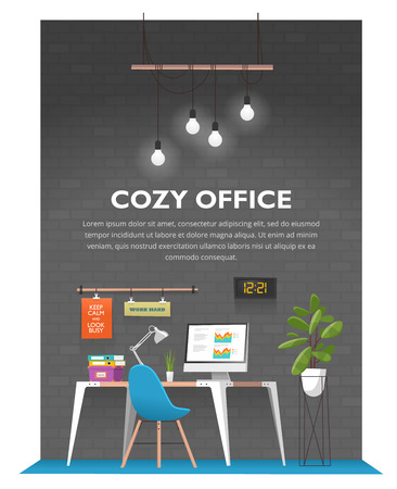 loft: Creative office interior in loft space with old vintage brick wall. Modern cozy workspace with wooden table, computer, desk lamp, folders, plants, posters, clock and other items. Vector illustration.