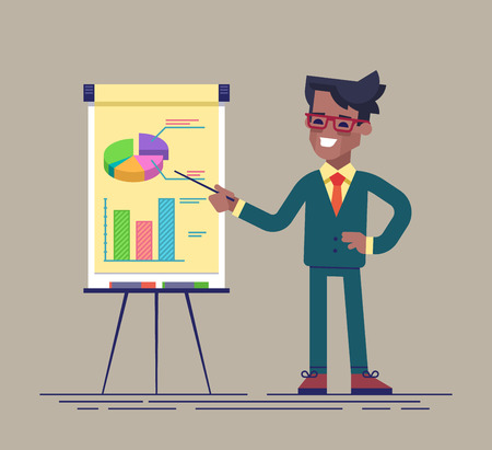 Confident young african american man standing near flip chart and pointing graph and diagram. Creative business concept. Vector illustration. Flat design.
