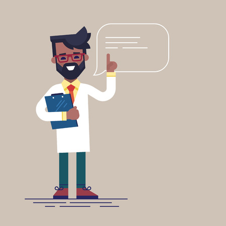 Handsome black male doctor with beard and glasses raising up his finger to give advice or recommendation. Cute physician speaking with speech bubble and holding clipboard. Flat vector illustration.