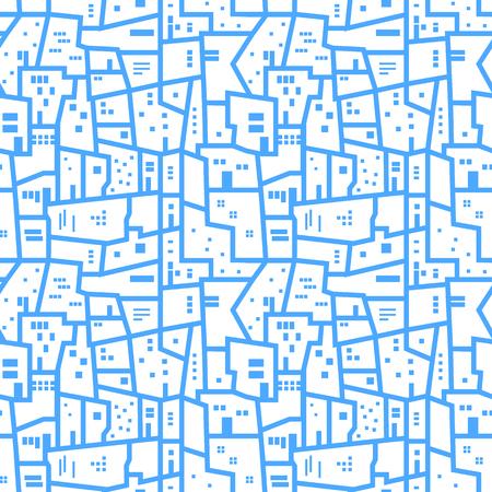 Light blue abstract urban seamless pattern. Vector