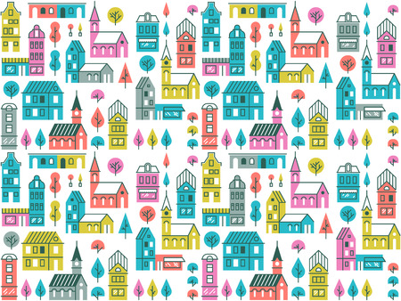 Seamless vector pattern with different buildings and trees. Repeated city texture. Retro urban background with houses, stores and churches.