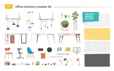 Office interiors creation kit. Vector.