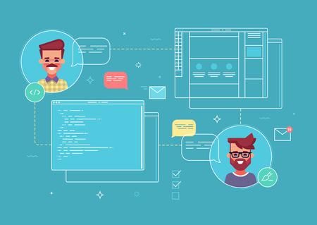 Business concept of cowork designer and programmer 矢量图像