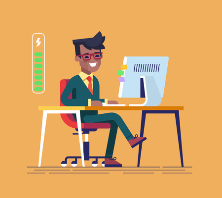 office computer: Handsome young black businessman character full of energy to work. Vector flat cartoon illustration