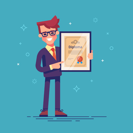 Handsome successful businessman holding diploma in his hands. Graduate of MBA. Modern vector illustration. 矢量图像