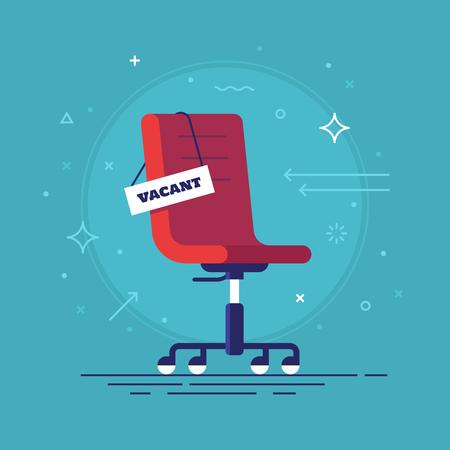 オフィスの椅子、空いているサインのコンポジション。