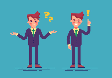 Young handsome businessman has a challenge and find a solution. Business concept. Vector illustration flat style Illustration