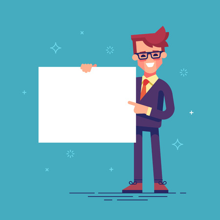 Handsome manager in formal suit holding a blank sheet and pointing by index finger to it. Template for your text. Cartoon character - cute businessman.