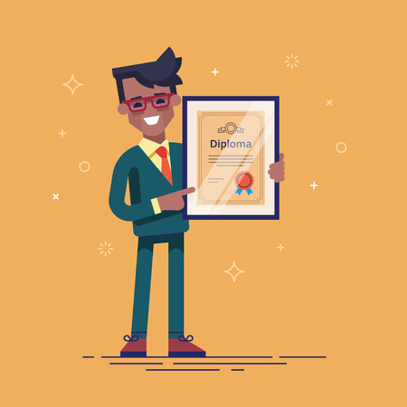 Black man holding diploma in his hands. Vector.