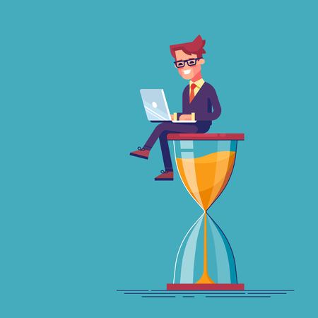 Businessman sitting on the hourglass with laptop