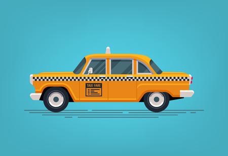 Retro yellow taxi cab. Classic taxicab icon.
