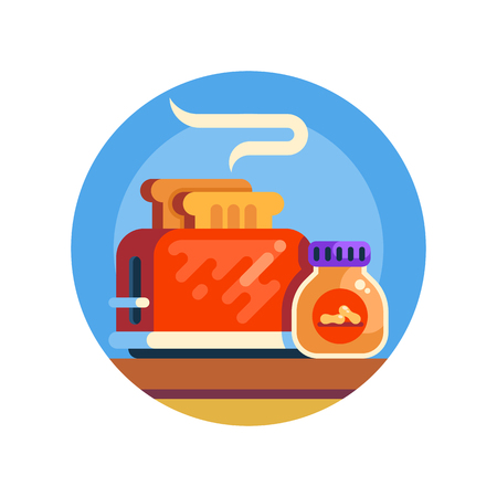 Retro toaster and jar of penaut butter. Vector 矢量图像