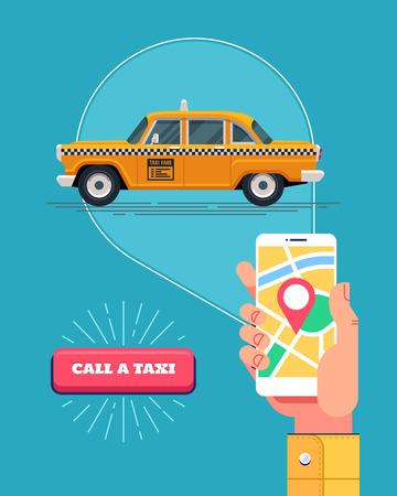 Public taxi service. Retro yellow taxicab. Vector.