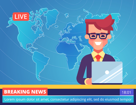TV newscaster man reporting breaking news. Vector.