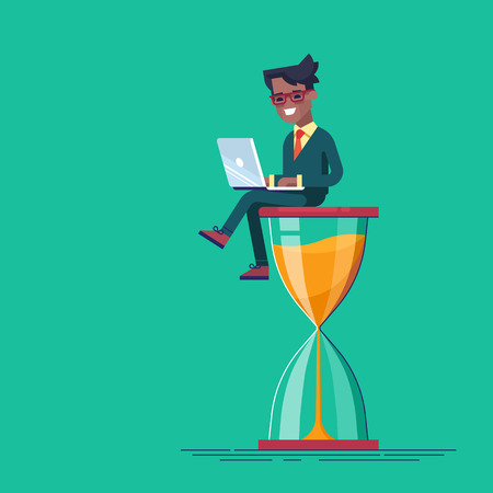 Black man sitting on the hourglass with laptop.