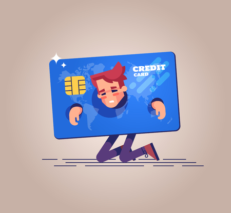 Concept of squander and credit slavery. Vector.