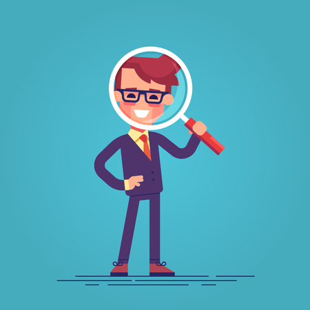 Cartoon character - manager with loupe. Vector.