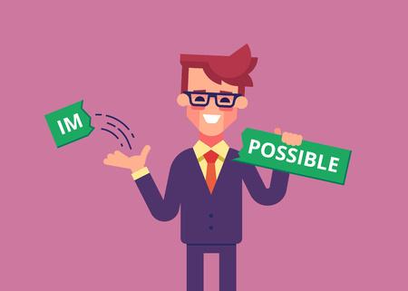 Businessman breaks off piece of word impossible 矢量图像