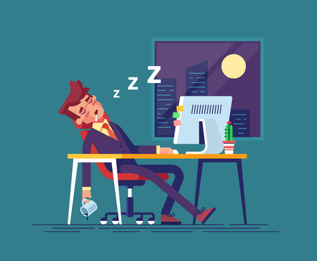 Exhausted businessman fell asleep in the workplace in the office at night. Work overtime. Modern vector illustration