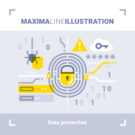 Concept of data protection. Maxima line illustration. Modern flat design. Vector composition.