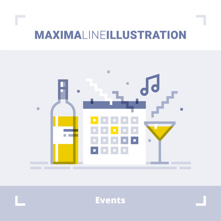 Concept of events management, catering service agency, marketing agency, organization of celebration and party. Maxima line illustration. Modern flat design. Vector composition. 矢量图像