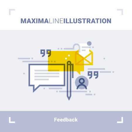 Concept of client feedback, testimonials and messages. Maxima line illustration. Modern flat design. Vector composition