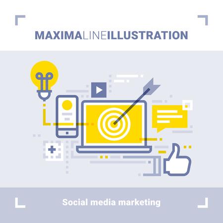 Concept of social media marketing and social networks. Maxima line illustration. Modern flat design. Vector composition