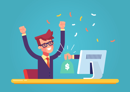 The hand from the monitor stretches a bag of money to a happy man. Concept of earnings on the Internet, online income, gambling. Modern vector illustration.