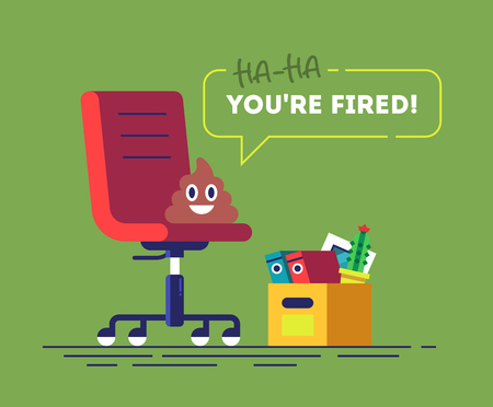 Pile of Poo emoji is sitting on a chair and speak YOU'RE FIRED. Funny concept of unemployment, jobless, employee job reduction and crisis. Comic vector illustration. 矢量图像