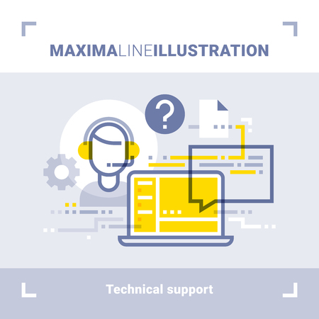 tech support: Concept of online tech support and call center. Maxima line illustration. Modern flat design. Vector composition Illustration
