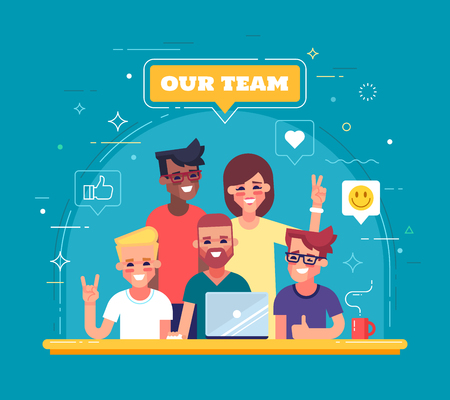 Our team - modern flat vector illustration. Group of positive people