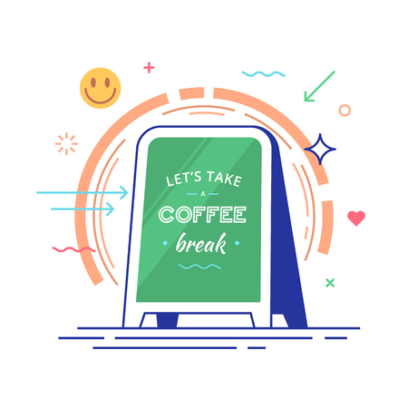 Lettering with text lets take a coffee break