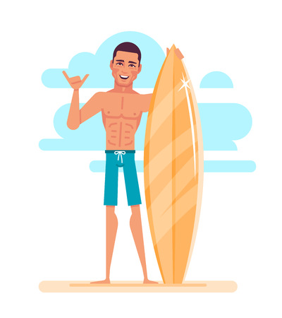 Attractive young surfer is holding surfboard. 矢量图像