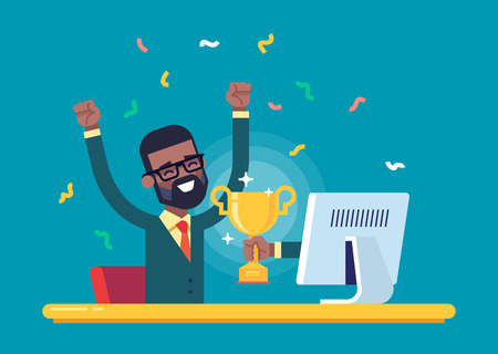 Black businessman got a gold award from monitor.