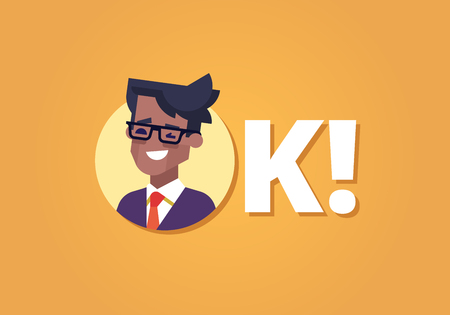 Everything is OK. Happy young black businessman in suit and tie winking and smiling. Inscription OK. Flat vector illustration.