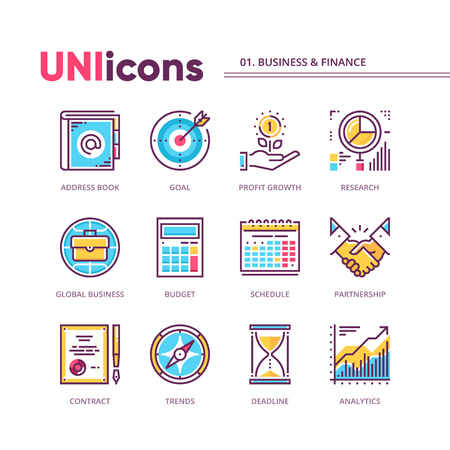 Modern collection of business and finance icons. 矢量图像