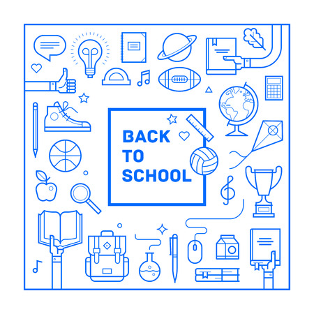 Back to school poster or invitation design in trendy linear style. Set of different school supplies. Vector illustration.
