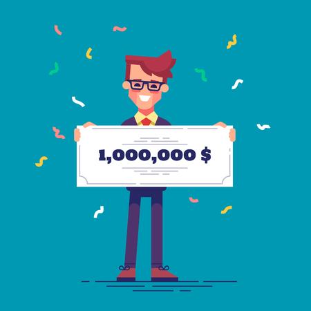 フォーマルなスーツで幸せな男は、100 万ドルの銀行小切手を保持しています。宝くじの利益概念。ベクトル。