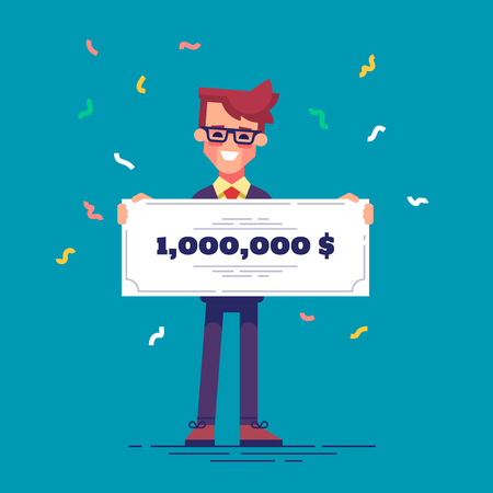honorarium: Happy man in formal suit is holding a bank check for a million dollars. Lottery gain concept. Vector. Illustration