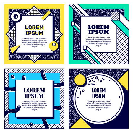 Set of cool Memphis style cards.