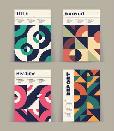 Set of retro covers. Collection of cool vintage covers. Abstract shapes compositions.
