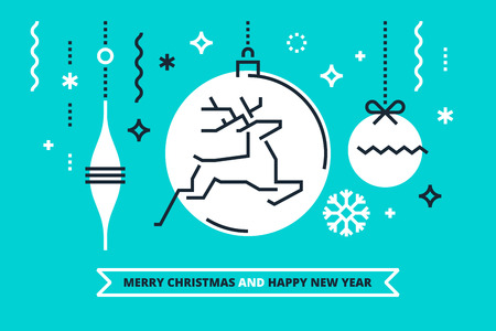 Merry Christmas and Happy New Year card. Vector.