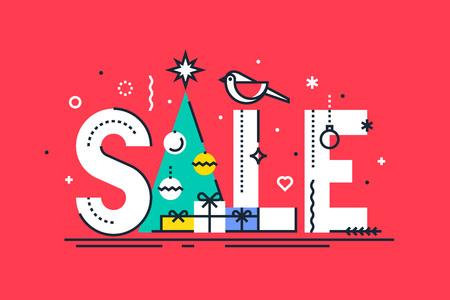 Christmas sale design template. Vector.