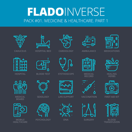 Vector icons set of medicine and healthcare. Illustration